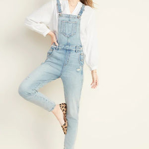 Old Navy Distressed Overalls Light Wash Size 6 NEW